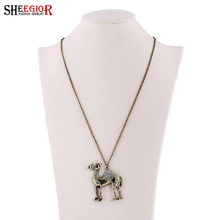 SHEEGIOR Vintage Long Crystal Women Necklace Cute Punk Camel Animal Pendants & Necklaces Bronze Chain Sweater Necklace for Women(China)