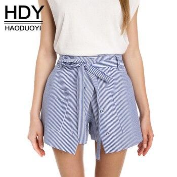 Hdy haoduoyi raya mujeres streetwear suelta pantalones casuales sexy delgada cintura alta botón cordón de algodón inferior a-line shorts culotte
