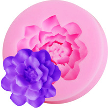 M517 1 pcs Flower Lotus shape biscuit mold Cooking Tool Mold Candy Silicone Cake Mold 3D Sugar Craft Silicone Moul(China)