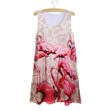 2015 summer sleeveless new arrival soft dress thin digital printed fashion cheap vestidos discount cat 3d print women dress