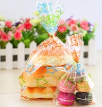 50pcs 5 sizes Large colorful cookie bread gift jewelry love baking bakery transparent packaging biscuit plastic favors bag