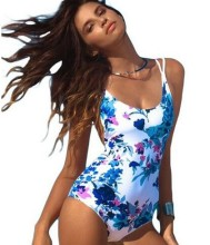 2017 Blue Floral Printed One-Piece Swimsuit Bathing Suit Swimwear For Women Monokini
