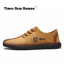 Times New Roman Brand Fashion Comfortable Men Shoes Lace-up Solid Leather shoes Men Causal huarache Hot Sale(China)