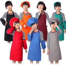 Colorful Solid Cotton Kids Apron and Chef Hat Apron Set Child Cooking Painting Apron Avental de Cozinha Divertido Pinafore