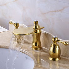 Luxury Design Golden Widespread Dual Handle Basin Faucet Tap Deck Mounted Waterfall Bathroom Mixer Crane Taps