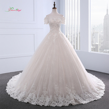 Dream Angel Short Sleeve Boat Neck Flowers Wedding Dress 2018 Sexy Appliques Beaded Vintage Bride Gown Robe De Mariage Plus Size(China)