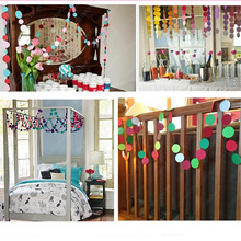 8 style Round Heart-shaped Hanging Paper Garland Ornaments Curtain Wall Flora String Party Home Holiday Room Decoration 4M long
