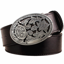 Retro women's belt metal buckle weave Arabesque pattern leather belts jeans trend punk rock strap decoration belt gift for women(China)