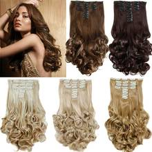 "False Hair Extensions Synthetic Hair with Clip 8pcs 18 Clips in Hair Extension 20"" Long Curly  Hairpiece Heat Resistant Hair"