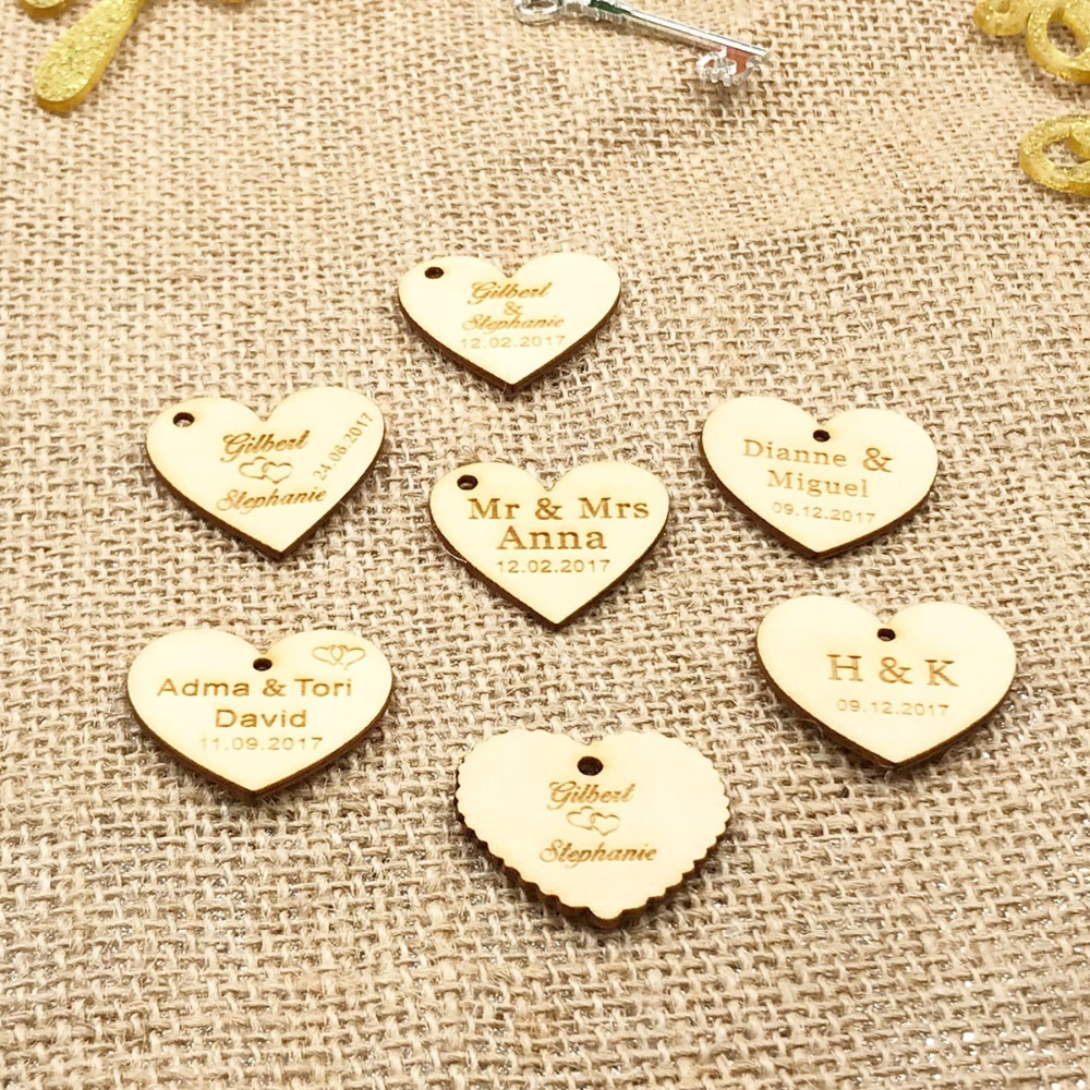 Personalized custom Engraved wedding name and date Love Heart wooden Wedding Gift Table Decoration Favors Customized Candy Tags