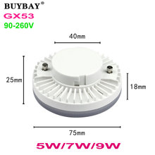 BUYBAY GX53 LED lamp 5W 7W 9W downlight ultra bright led bulb SMD5730 22LED-34LED spotlight warm white/white 90-260V no flicker