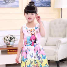 2017 New Summer Girls Dress Up Anna Elsa Dresses Teen Girl Dresses Butterfly Print Dress Princess Party for Girls Baby Clothing