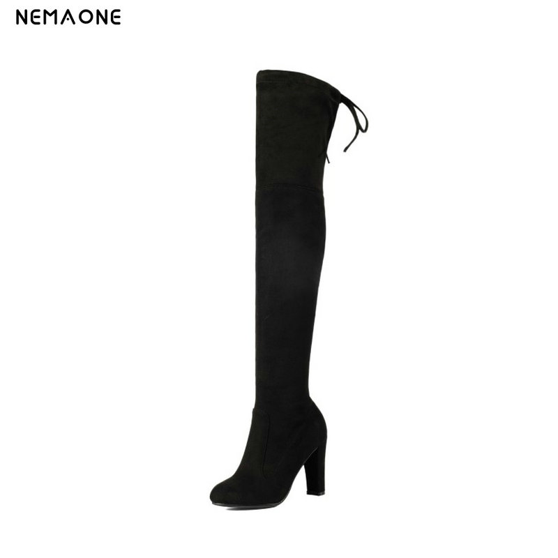 NEMAONE large size 34-43 Free shipping over the knee boots high heel boots women fashion warm shoes Womens Boots black gray<br>