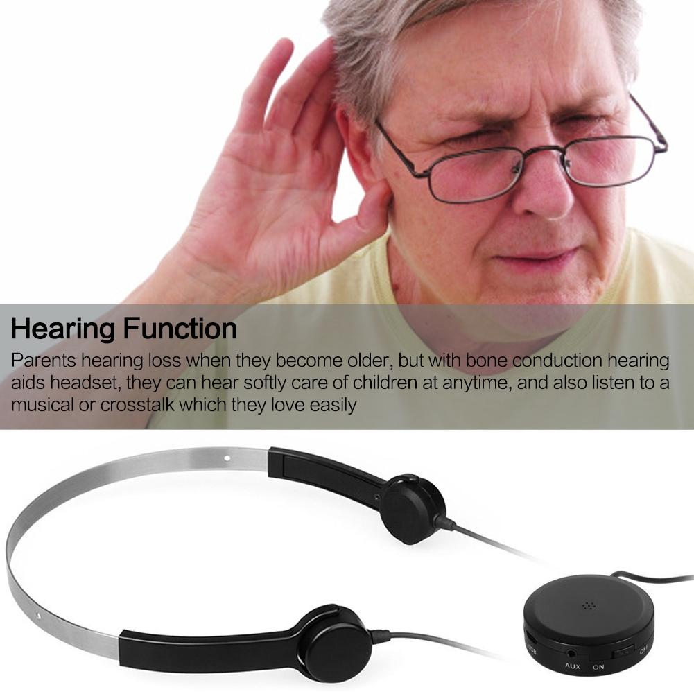 EastVita Bone Conduction Headphone Headsets Hearing dentiphone Audiphone Sound Amplifier AUX IN Black for Hearing Difficulties<br>