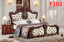 Hand carved solid bed furniture F102