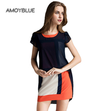 Amoyblue Women Loose Chiffon Dresses Short Sleeve Summer Latest Irregular Retro Geometric Blue Ladies Day Dress Apparels on Sale