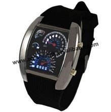 Wholesale Fashion Masculino Aviation Dial Flash Watch Men LED Watches Gift Mens Sports Car Meter Digital Wrist Watches