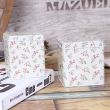 Free Shipping! 2pcs/set Flower Painting Tea Box Metal Storage Case Candy Can Home Decoration Gift Box Chocolate Storage Case