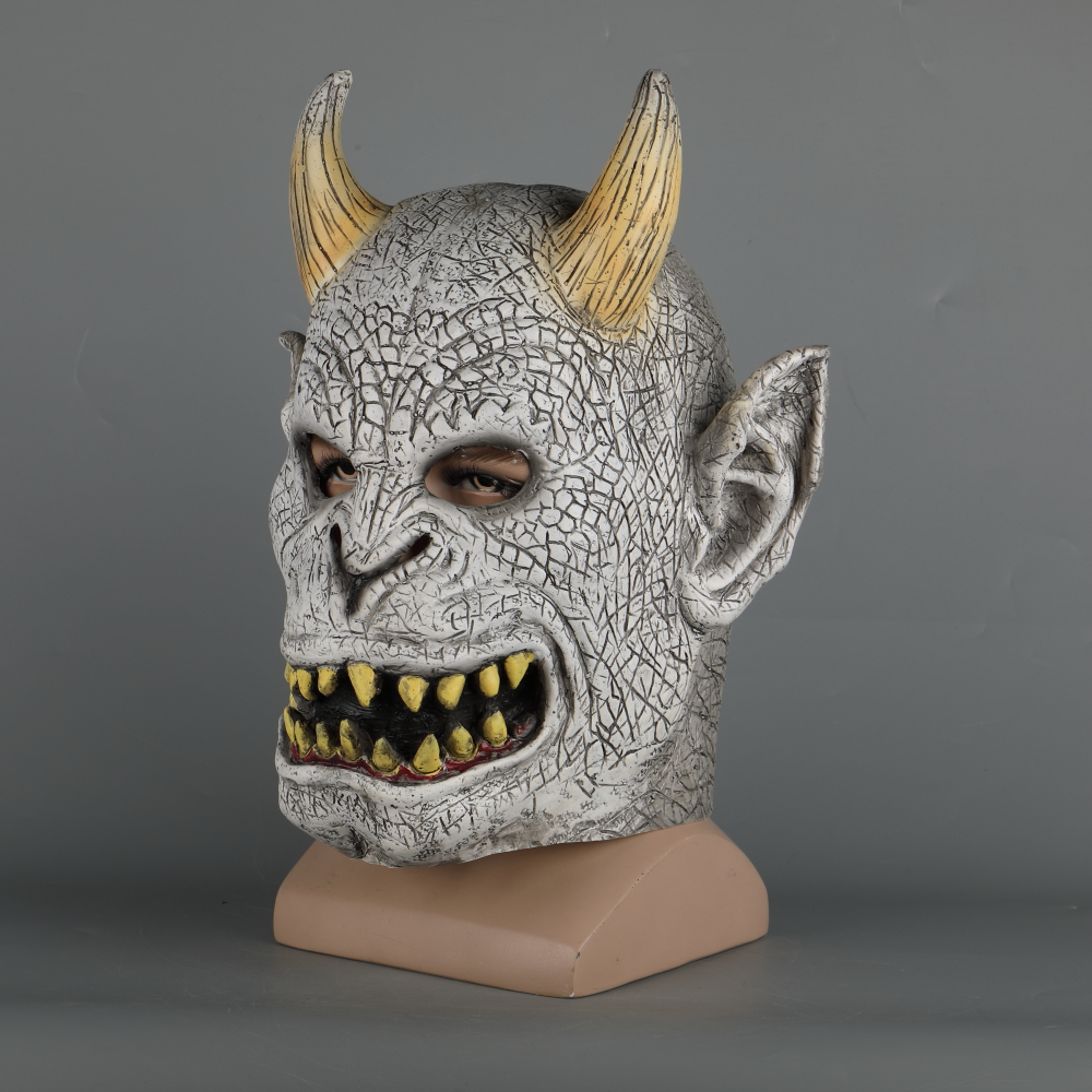 Scary Demon Devil Horror Halloween Latex Mask With Horn Cosplay Prop Masquerade Mask Adult (8)