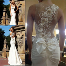 Luxuriant gem beads around her neck pearl mermaid wedding dress zipper and training high quality 2015 pin dresses