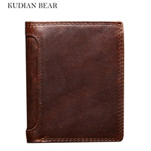KUDIAN BEAR 100% Genuine Leather Men Wallets Brand Bifold Design Men Purse Top Quality Travel RFID Card Holder--BIK001 PM49