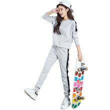 Autumn Winter Tracksuit Long Sleeve Stitching Sweatshirts Casual Suit Women Clothing 2 Piece Set Tops+Pants Sporting Suit Female(China)