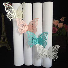 Big Heard Love 40pcs Party Favors Wedding Napkin Holder Laser Cut Butterfly Napkin Ring Paper Napkin Ring For Wedding Decoration(China)