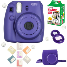 Fujifilm Instax Mini 8 Camera Grape Purple + Fuji 20 Photos Instant White Film + Close up lens + 64 Pockets Album + PU Case Bag