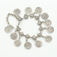 2016 New New Fashion Charming Retro Antique Silver Anklets Anklet Nation Carved Coin Pendant Lucky Jewelry For Women(China)
