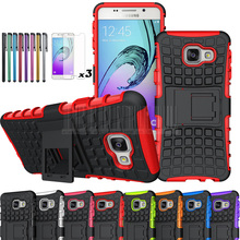 Phone Caes For Samsung Galaxy A3 2016 A3100 A310F Mix Color TPU+PC Armor Shockproof Protective Kickstand Cover With Films+Stylus