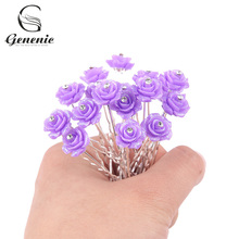 20 Pcs/lot Crystal Rhinestone Rose Flower Hair Pin Clips Women Wedding Bridal Hair Jewelry Hair Accessories(China)