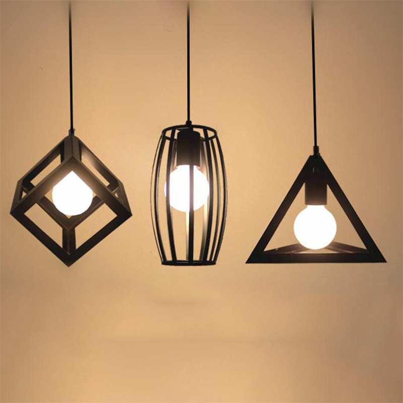 2017 Free Shipping New Nordic For Creation American Style Square Pendant Lamp Simple Cube Geometric Iron Light E27 Ac110-240v <br>