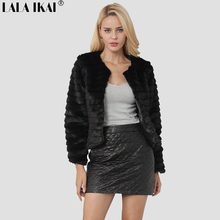 Women Winter Short Hair Faux Fur Coat Long Sleeve Solid Color Black White Pink Coffee Plus Size 2XL Ladies Outerwear SWQ0417-45(China)