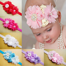 Satin Ribbon Rolled Rose Flower Headbands Chiffon Flower Headbands For kid Photography Props(China)