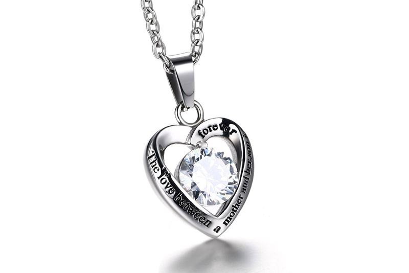 Meaeguet Women's Heart Pendant For Necklace With CZ High Polished Stainless Steel Love Forever For Her Son Jewelry (4)