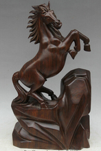 "Free Shipping JP S0524 20"" Chinese wood Animal stone run success Zodiac Year Horse Statue sculpture(China)"