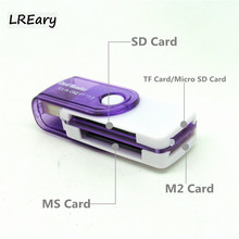 4 in 1 USB 2.0 rotatable Memory Card Reader micro sd card adapter for TF SD M2 MS Card colorful