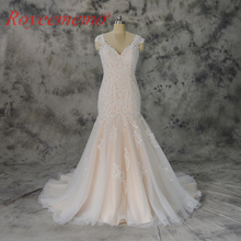 Vestido de Noiva champagne and ivory lace wedding dress classic style wedding gown custom made factory wholesale price(China)