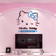 Cheap 2016 New Arrival Hello kitty 3D stereoscopic children's room wall stickers Acrylic crystal cartoon bedroom wall decoration