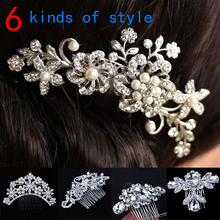 Women Girls Bridal Wedding Silver Crystal Rhinestone Diamante Flower Hair Clip Comb Pin Apparel Accessories Headwear Hair Combs
