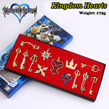 Free shipping Anime Kingdom Hearts Cosplay Necklace Sora Keyblade Keychain Metal Figure Toy Pendants Boxed Gift (13pcs per set)