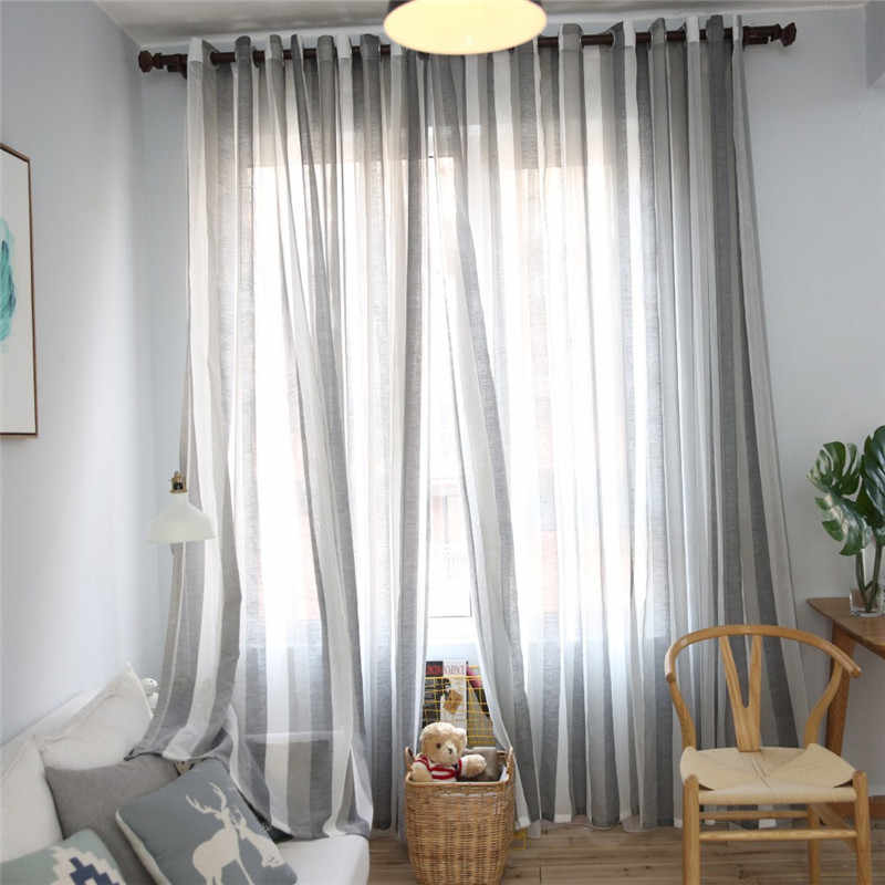 Byetee Grey Strip Window Curtains for Living Room Modern Customize Finished Cortinas Kitchen Tulle Curtain Drapes Sheer Cortinas