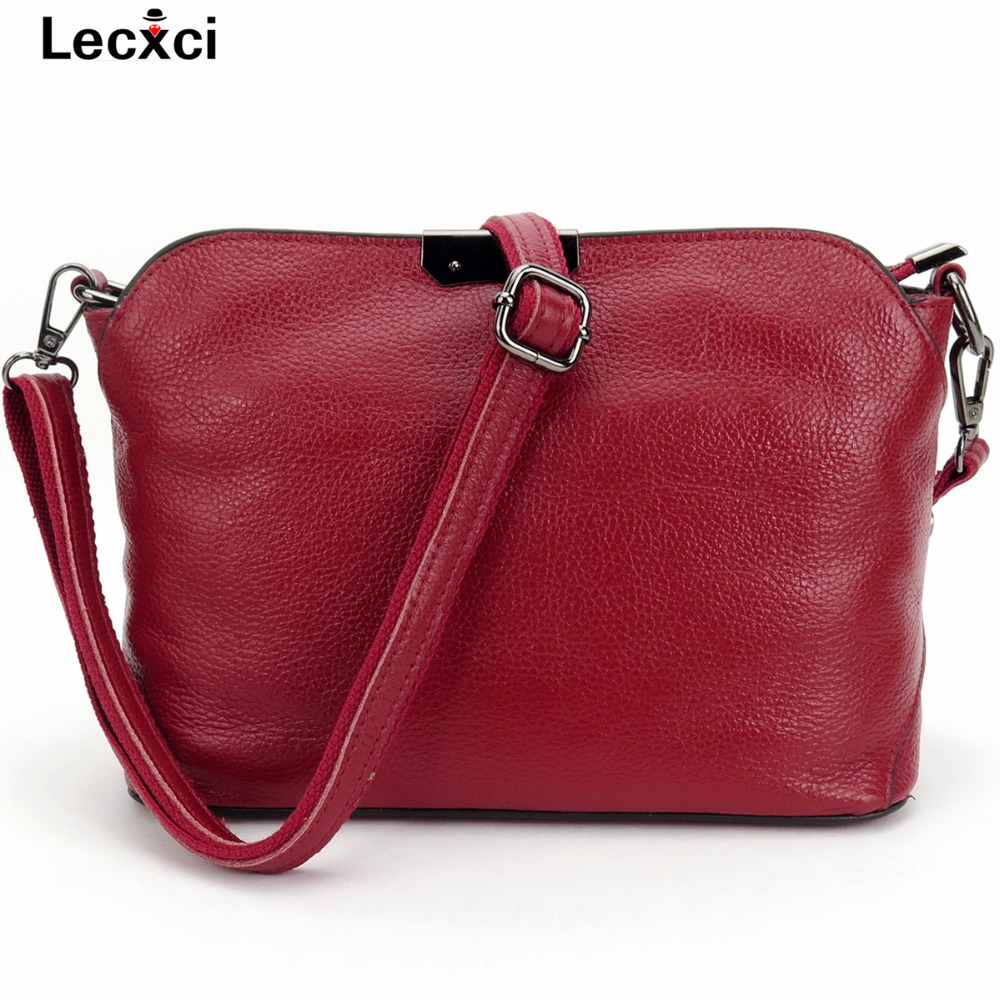 Lecxci Women Small Cowhide Genuine Leather Daily Crossbody Handbags, Soft Casual MessengerShoulder Bags Purses for Women Teens<br>
