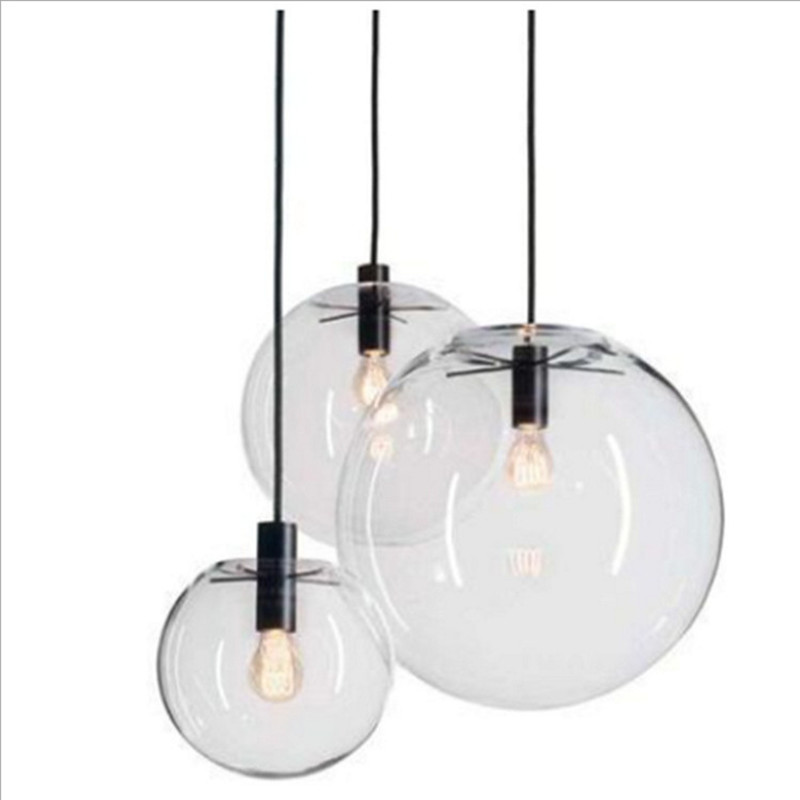 Nordic Brief Clear Bubble Glass Ball Dining Room Pendant Light Loft 27 Light For Living Room Bar Cafe Deco Free Shipping<br>