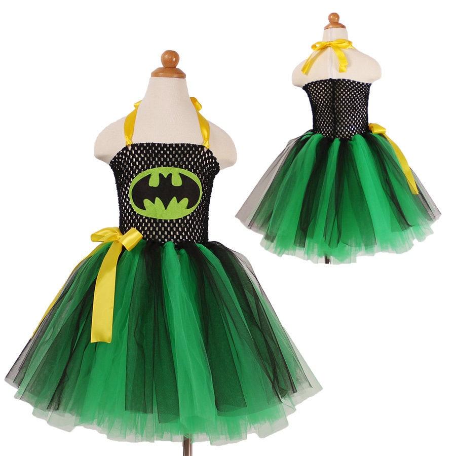 Fashion green black cartoon charactor tutu costume girl party dress halloween kids<br><br>Aliexpress