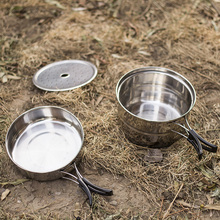 Picnic tableware stainless steel sets of pot outdoor kitchen sets portable camping cookware camping picnic supplies steamer