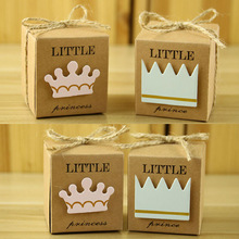 100 x European Little Prince Princess Square Kraft Paper Wedding Favors Baby Shower Candy Boxes Party Gift Box With Hemp Ropes