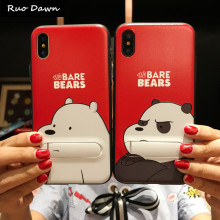Buy Ruo Dawn Cartoon Bear iphone 6 6S 7 8 Plus X Phone Cases Soft Silicone+Plastic Shell Cute Cat Fashion Girl Stent Back Cover for $2.99 in AliExpress store