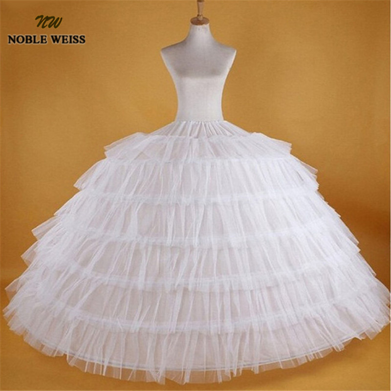 NOBLE WEISS Big White Petticoats Super Puffy Ball Gown Slip Underskirt For Wedding Formal Dress Brand 7 Hoops Long Crinoline