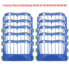 10pcs AeroVac Blue Filters  for irobot roomba  536 550 551 552 564 595 Series 600  610  615  620  630  650  660 Series